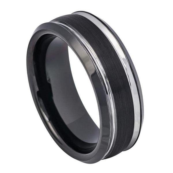 Black Steel Stripe Edge Band