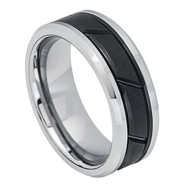 Black Diagonal Groove Center Beveled Edge Band