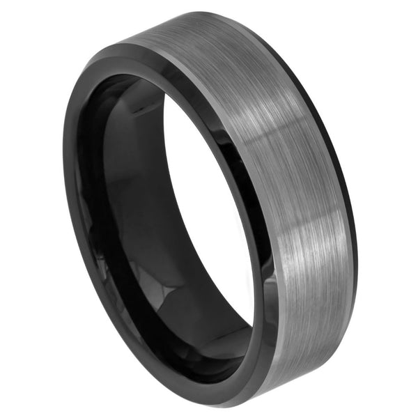 Gun Metal Center Black Beveled Edge Band