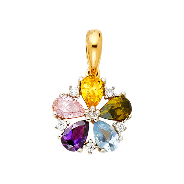 Colorful Flower CZ Pendant