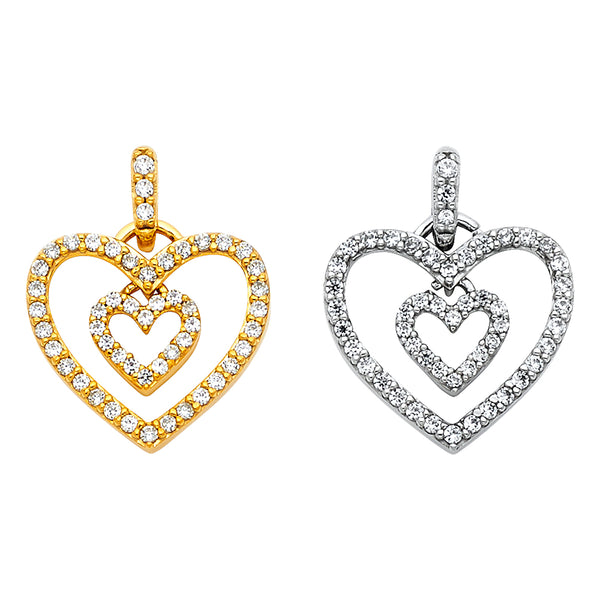 Double Heart Eternity CZ Pendant