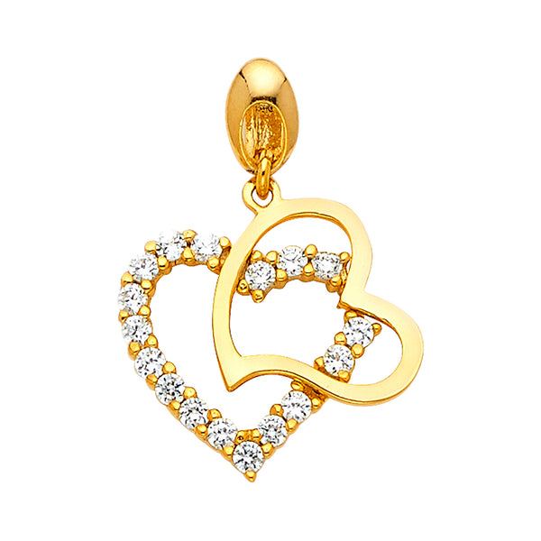 Two Hearts CZ Pendant