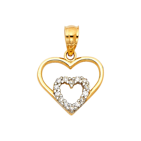 Layered Open Heart CZ Pendant