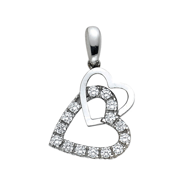 Interlocked Hearts CZ Pendant