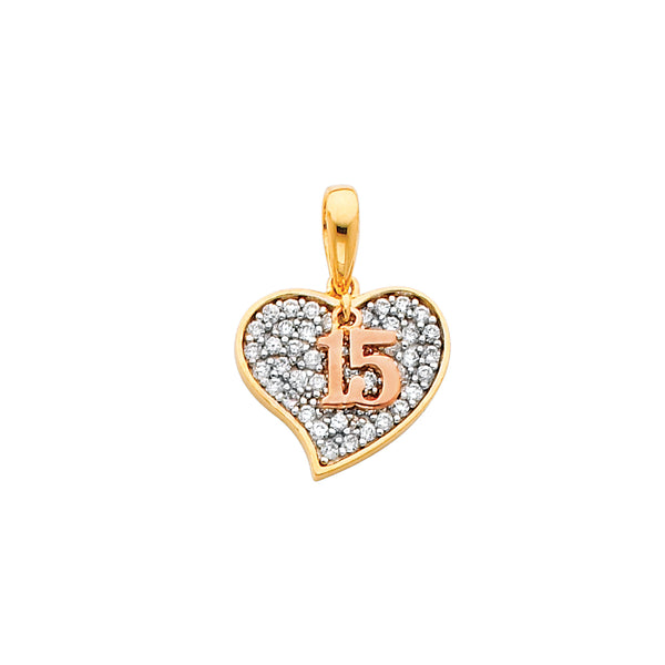 Quince Heart CZ Filled Pendant