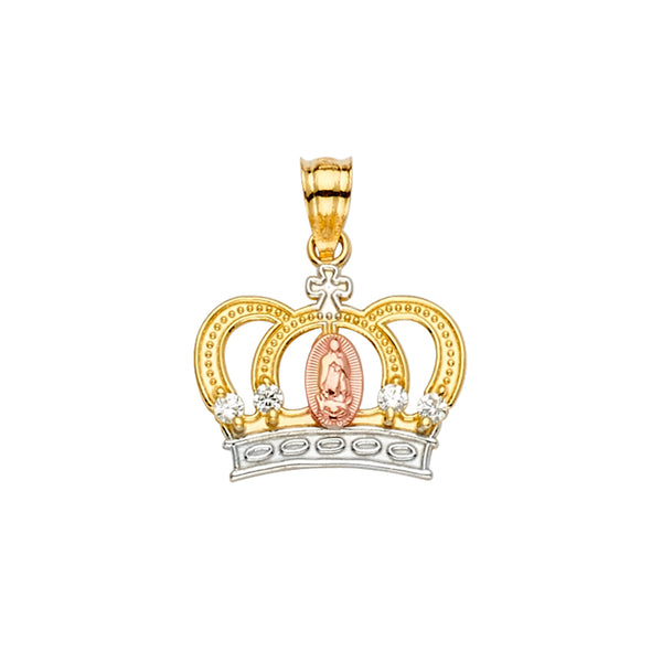 Mary of Guadalupe Crown CZ Pendant