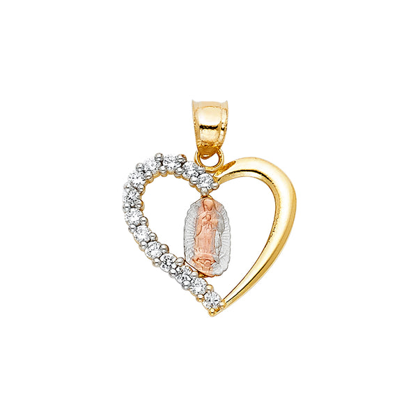 Mary of Guadalupe Heart CZ Pendant