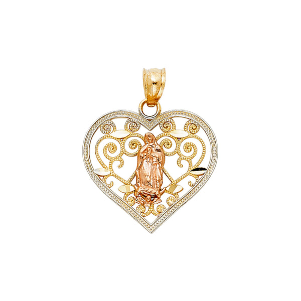 Mary of Guadalupe Filigree Heart Pendant