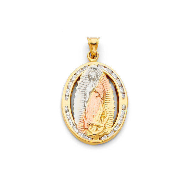 Mary of Guadalupe Oval CZ Pendant