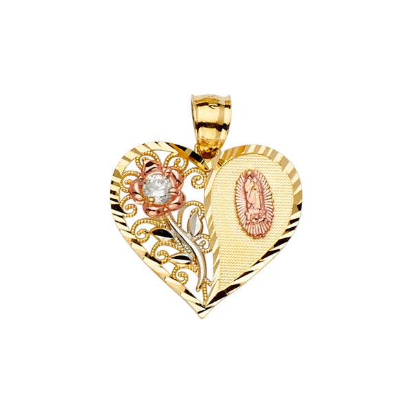 Mary of Guadalupe Heart Rose CZ Pendant