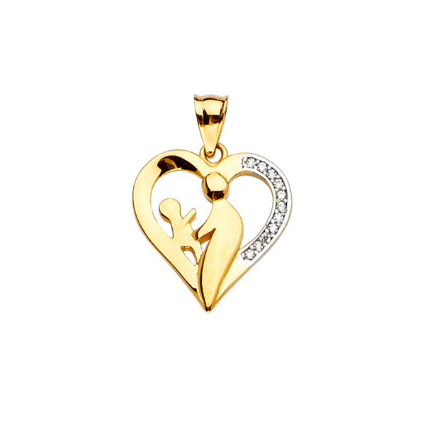Heart Mother CZ Pendant