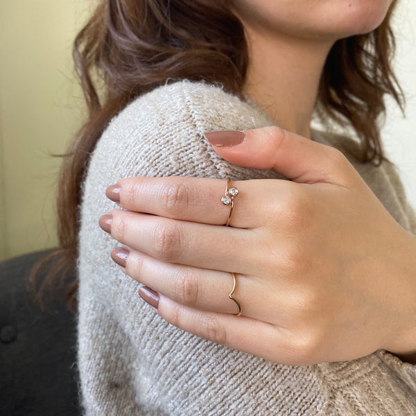 Stackable Double CZ Adjustable Ring