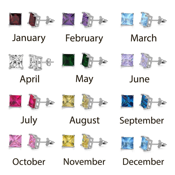 Square Birthstone CZ Basket Studs