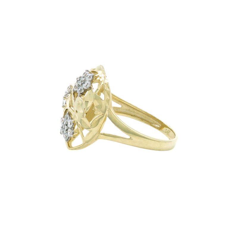 Round Flower CZ Ring