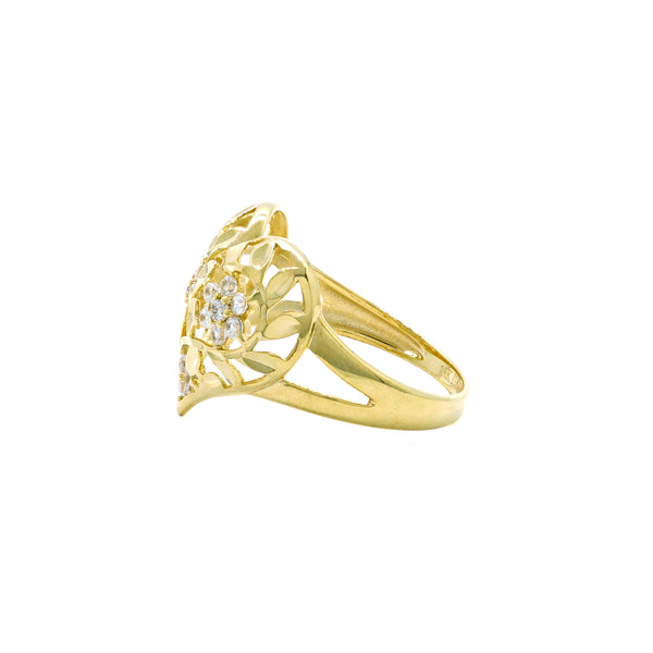 Heart Flower CZ Ring