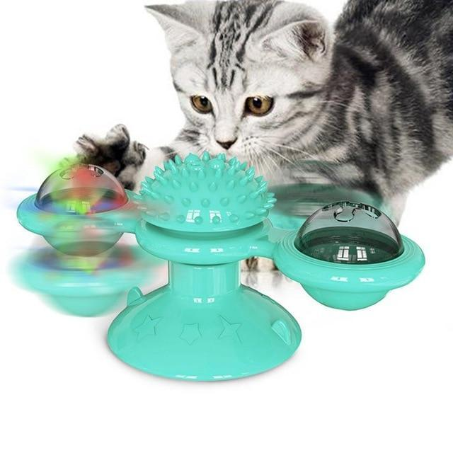 Trending Dealz Lake Blue Interactive  Cat Toy Turntable Scratching Tickle