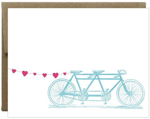 Tandem Bike with Heart Banner Card