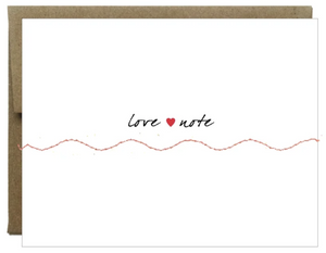 Love Note Card Sewn with Red Thread
