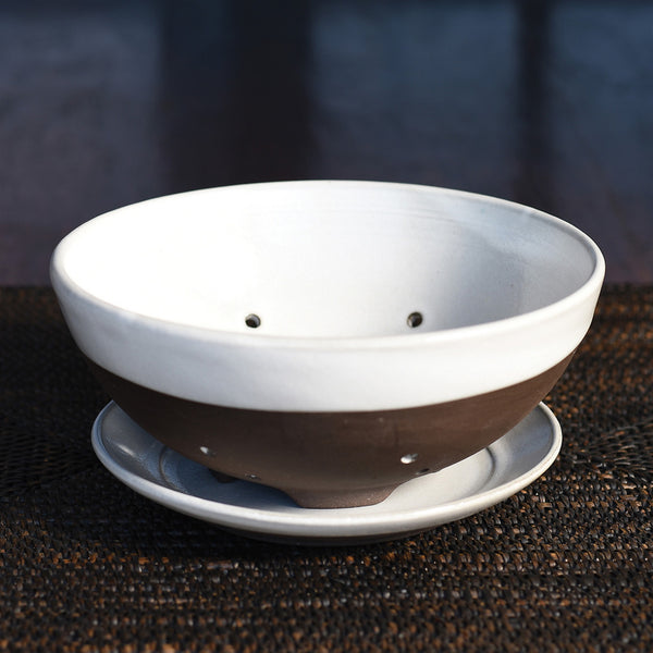 Liam Ceramic Berry Bowl + Saucer - Partial Glaze