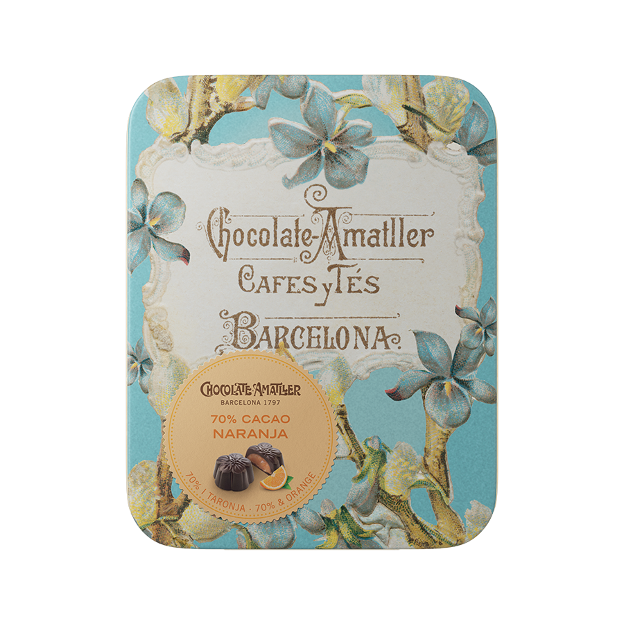 Dark Chocolate Flowers filled with Orange in a Vintage Tin