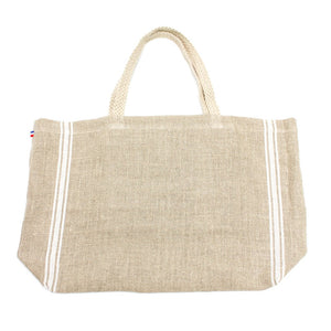 Monogramme White Thieffry Linen Shopping Bag with Braided Handle and Inner Zipper Pocket