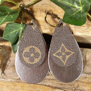 Upcycled Brown LV Leather and Gun Metal Metallic Double Teardrop Earrings