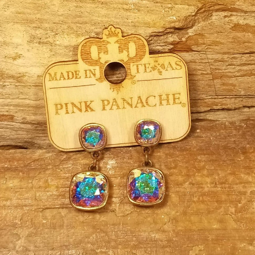 PP Earrings Iridescent Crystal Square Double Bezel Bronze Dangle