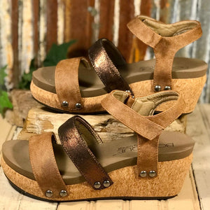 "New!! Corkys Platform Brown/Bronze ""Cona"" Sandal"
