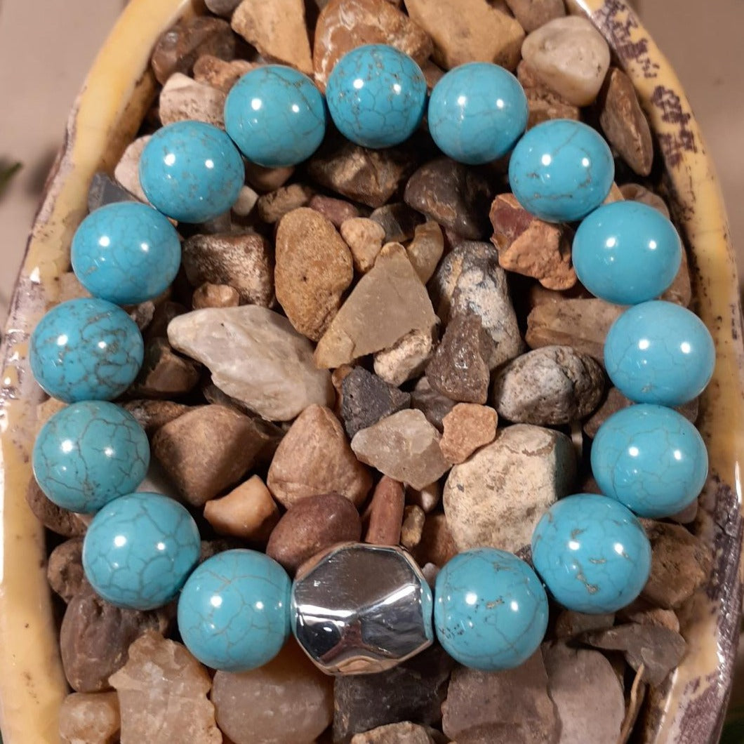 Round Turquoise Bead Stretch Bracelet by Simon Sebbag Designs