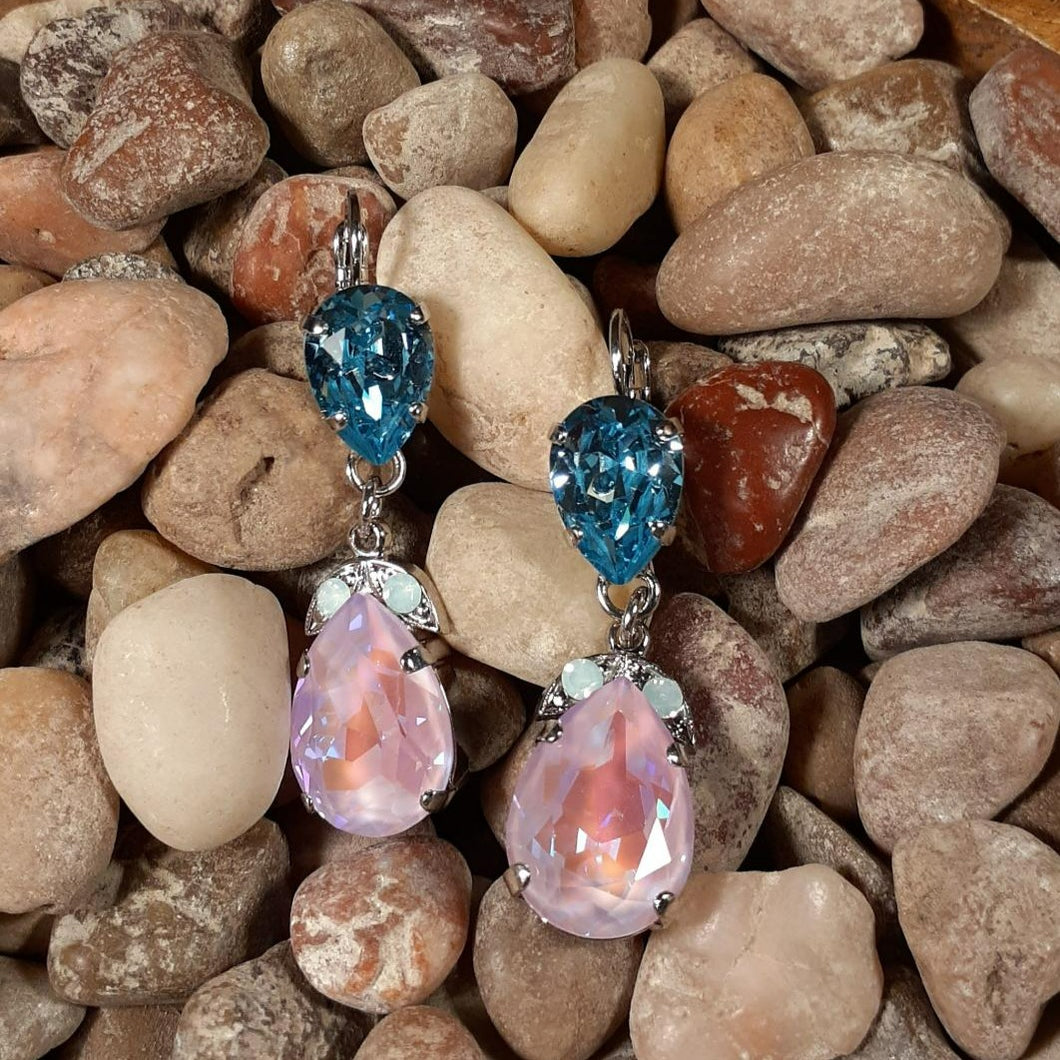 Mariana Pink and Blue Multi Stone Earrings
