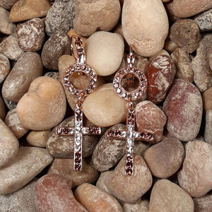 New & Very Stunning! Mariana Copper & White Multi Stone Dainty Cross Earrings