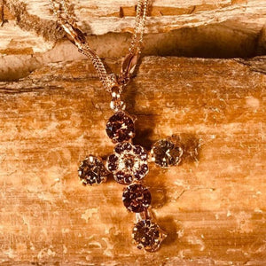Mariana Multi Shades of Champagne Multi Stone Cross Necklace