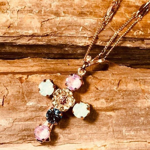 New & Ohhh So Stunning! Mariana Pink, Blue & Mint Green Multi Stone Cross Necklace