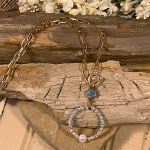 PP Necklace Gold Chain with Iridescent Crystal Bead Front Hoop with White Pearl