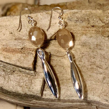 Load image into Gallery viewer, Vivid Sterling Silver Sand Oval Crystal Drop Earrings by Simon Sabbag Designs