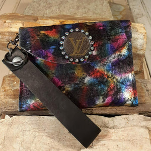 LV Upcycled Embellished Acid Wash Purple Hair on Hide Shimmer Wristlet