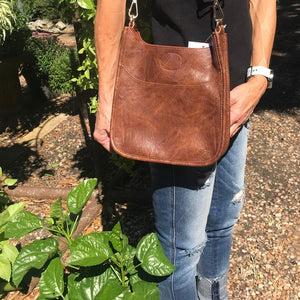 LV Upcycled Detail Patch on Darlin' Quilted Bronze Crossbody