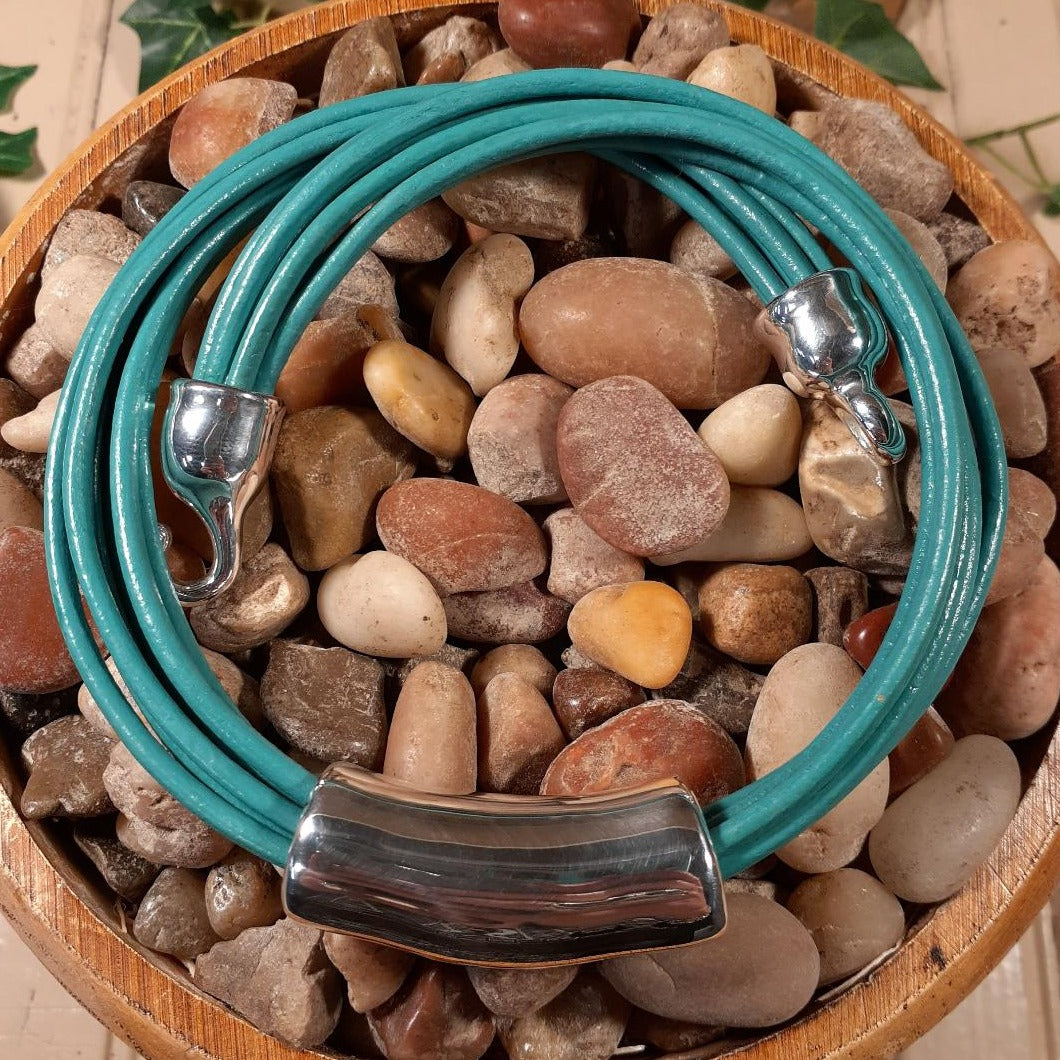 Teal Leather with Silver Long Bead Necklace by Simon Sebbag Designs
