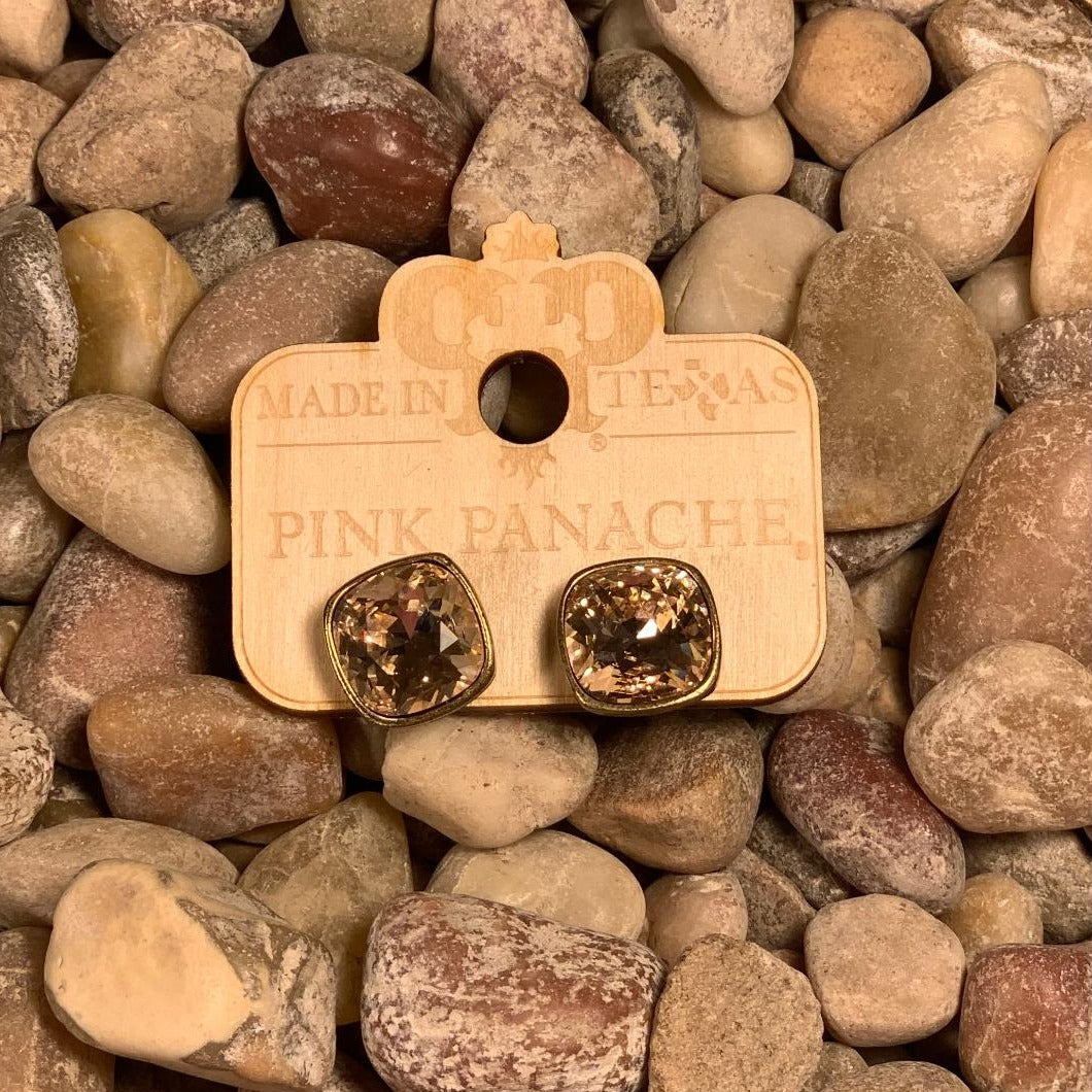 PP Bronzy Champagne Square Bezel Studs