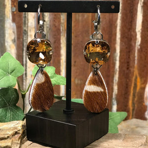 Upcycled Amber Gold Crystal Accent With Teardrop Animal Print Earrings