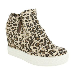 Not Rated Arabelle Sneaker Leopard Wedges