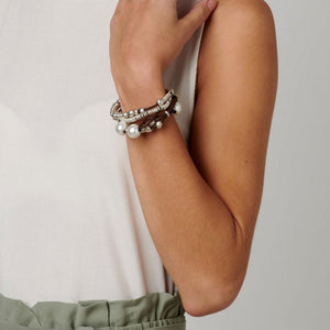 UNOde50 Bracelet Featuring Several Leather Strands with Pearls & Silver Beads