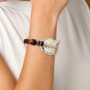 "UNOde50 Brown Leather and Silver "" I LIKE YOU "" Bracelet"