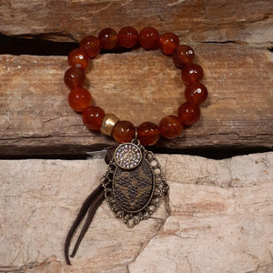 LV Upcycled Leather Charm with Gold & Rust Colored Bead Bracelet...NEW!