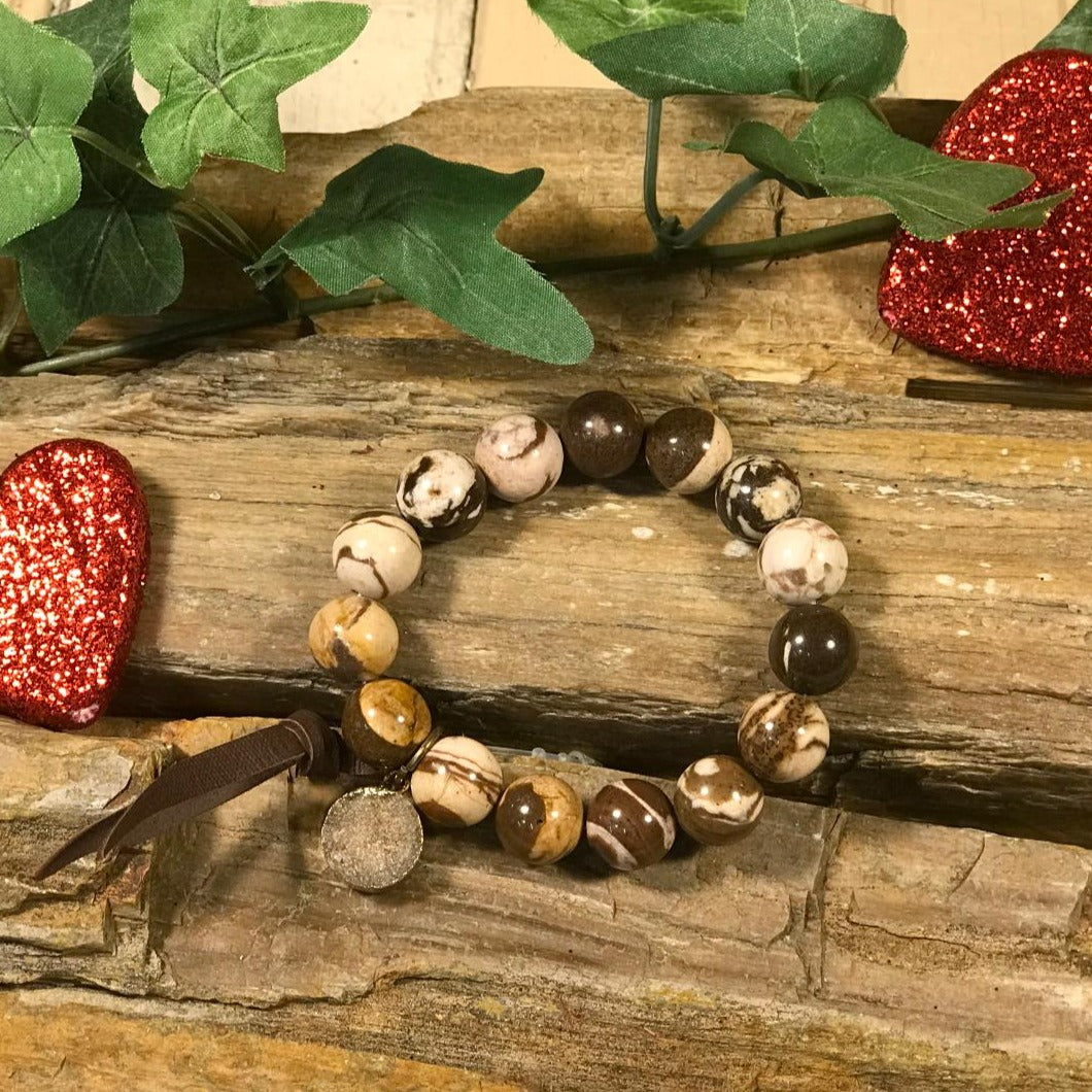 Brown and Cream Swirl Stretch Bead Bracelet