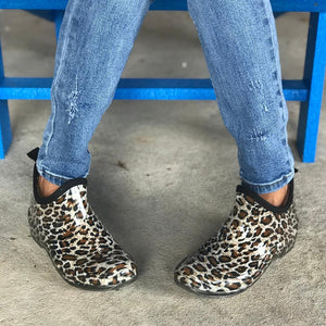 "Corkys ""Stormy"" Cheetah Ankle Rain Booties"
