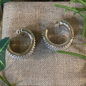 Sterling Oxidized Prosecco Hoop Earrings by Simon Sabbag Designs