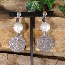 Load image into Gallery viewer, UNODE50 Alexandria Antique Coin and Pearl Earrings