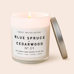 Blue Spruce and Cedarwood Soy Candle | White Jar Candle