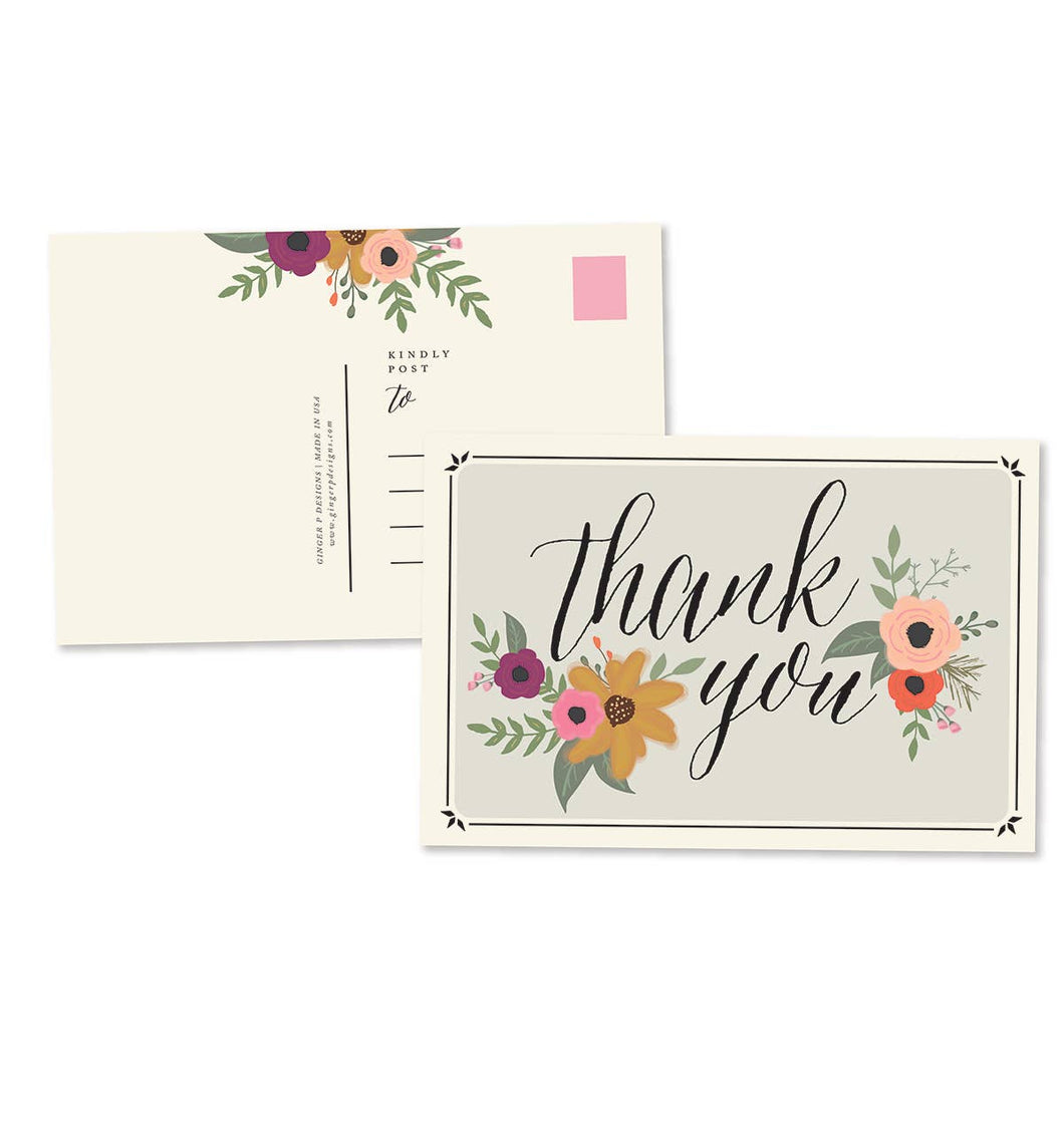 Thank you Floral Postcard |Greeting Card